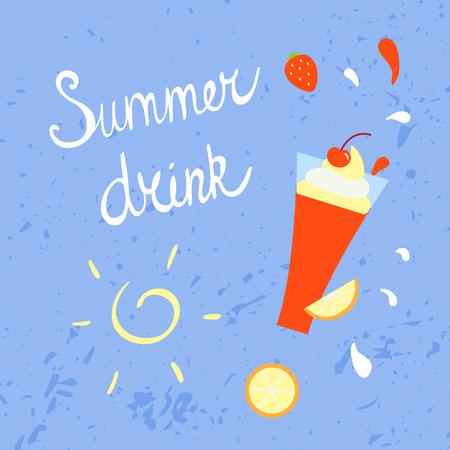 Summer refreshing drink. Vector illustration