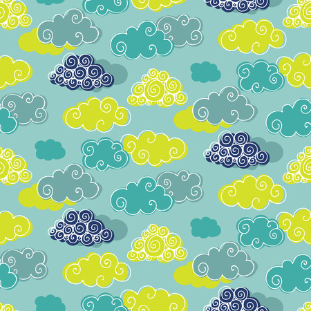 Seamless pattern with clouds. Vector illustration Ilustracja