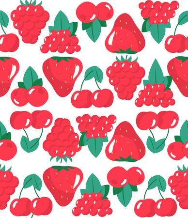 Seamless pattern with raspberries, rowans, cherries and strawberries. Vector illustration Ilustracja