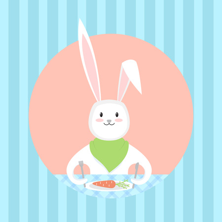 Bunny waiting for a food. Vector illustration