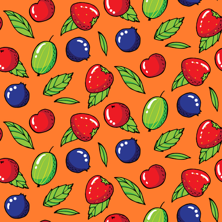 Summer seamless pattern with gooseberries, strawberries and blackberries. Vector illustration