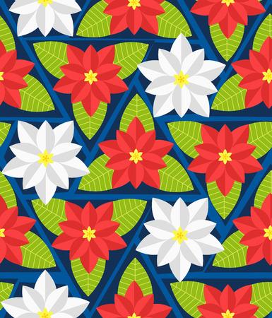Seamless pattern with poinsettia flowers. Vector illustration Ilustracja