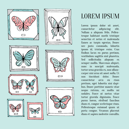 flit: Card with beautiful butterflies and place for text. Vector illustration Illustration