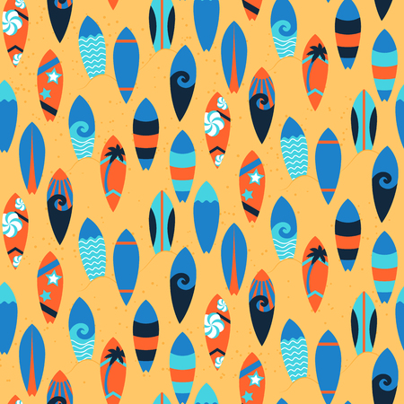 Seamless pattern with surfing boards. vector illustration Ilustracja