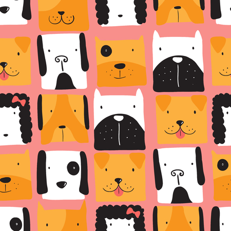 Seamless pattern with cute dogs. Vector illustration