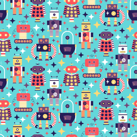 Seamless pattern with different vintage robots. vector illustration