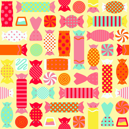 Seamless pattern with different colorful candies. vector illustration