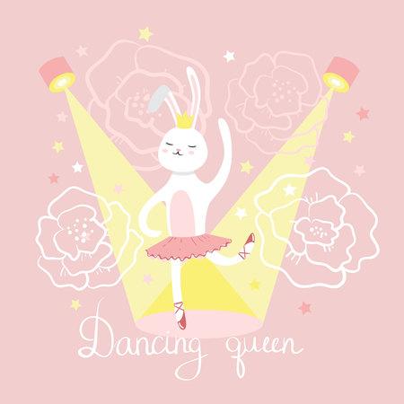 Hare ballerina dancing. Vector illustration Ilustracja