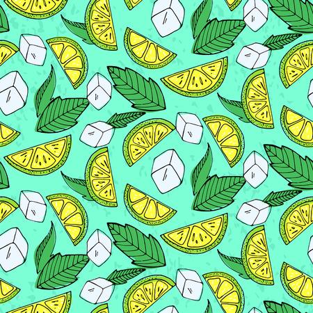 Seamless pattern with lemons, ice and mint. Vector illustration