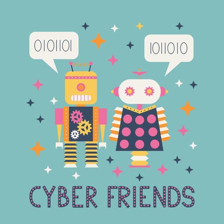 Two vintage robots. vector illustration