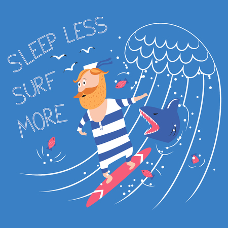 Surfing with shark vector illustration