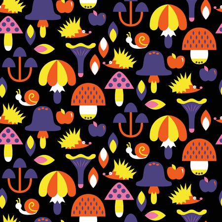 Seamless pattern with different mushrooms. Vector illustration Ilustracja