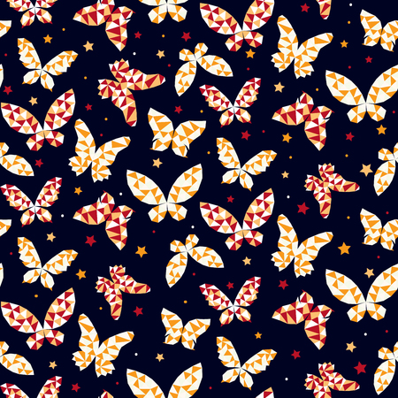 flit: Seamless pattern with beautiful butterflies. Vector illustration
