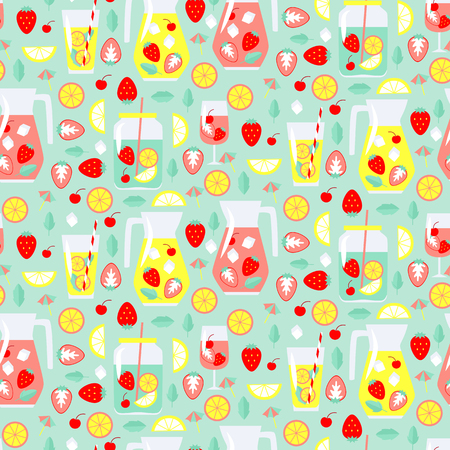 Seamless pattern with summer drinks. Vector illustration
