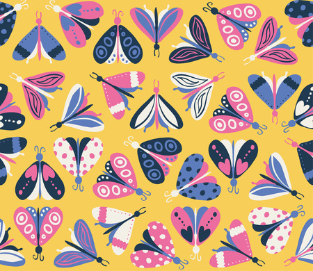 flit: Seamless pattern with different beautiful butterflies. Vector illustration