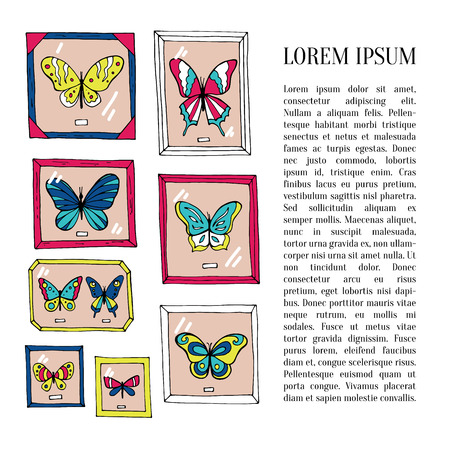Card with beautiful butterflies and place for text. Vector illustration Illustration