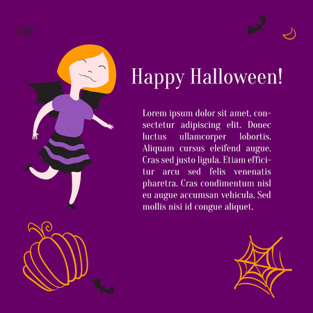 Kids in halloween costumes. Vector illustration