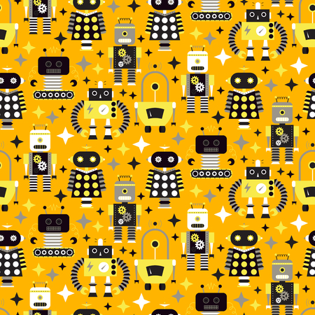 Seamless pattern with different vintage robots. vector illustration Zdjęcie Seryjne - 73307775