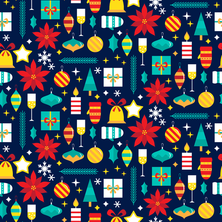 Seamless pattern with christmas elements. vector illustration