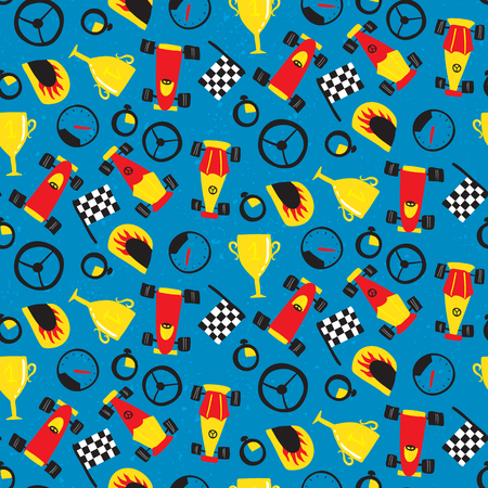 Seamless pattern with racing cars. Vector illustration