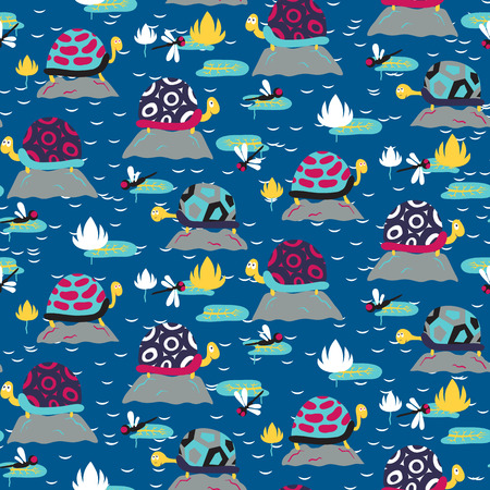 Seamless pattern with cute turtles. Vector illustration