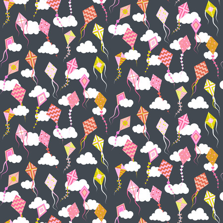 Seamles pattern with different kites. Vector illustration