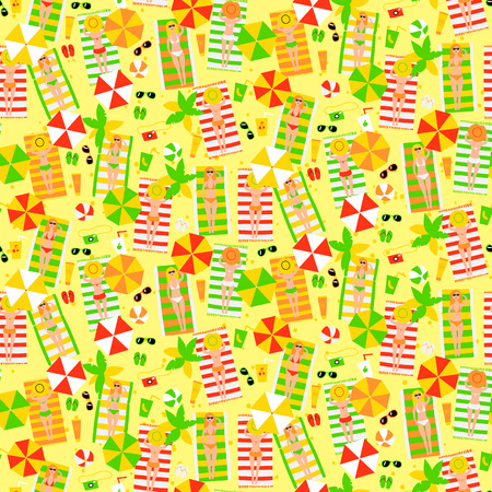Seamless pattern with girls on the beach. vector illustration