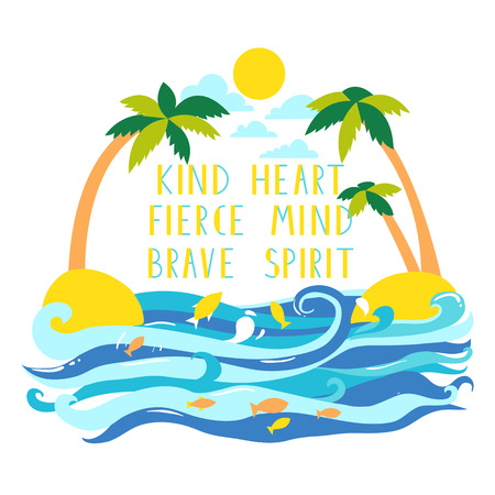 Two palms in the islamd at teh sea with lettering. Vector illustration