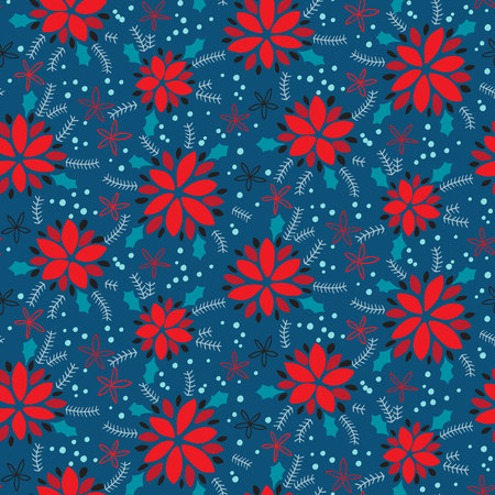 Seamless pattern with poinsettia flowers. Vector illustration Иллюстрация