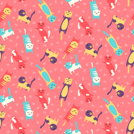 Seamless pattern with cats celebrating birthday vector illustration