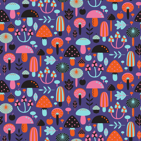 Seamless pattern with different mushrooms. Vector illustration Zdjęcie Seryjne - 73307877