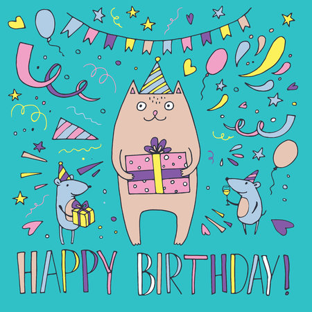 Illustration of a cat celebrating birthday vector illustration Illustration