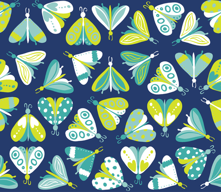 Seamless pattern with different beautiful butterflies. Vector illustration
