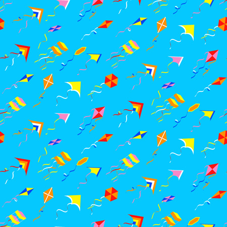 flit: Seamles pattern with different kites. Vector illustration