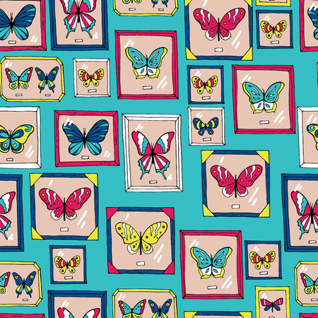 Seamless pattern with beautiful butterflies. Vector illustration