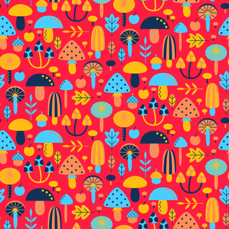 Seamless pattern with different mushrooms. Vector illustration Иллюстрация