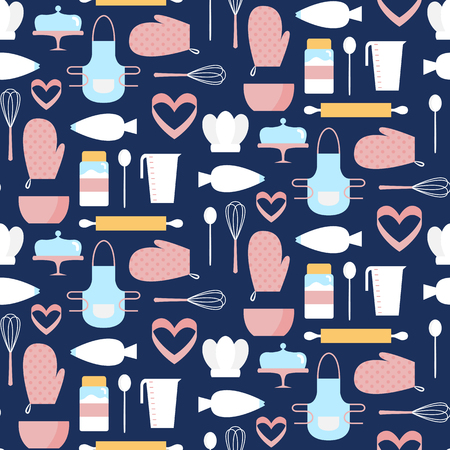 Seamless pattern with cookware. Vector illustration