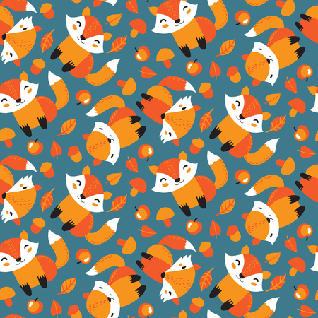 Seamless pattern with cute different foxes in a forest. Vector illustration