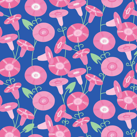 Seamless pattern with beautiful bindweeds. Vector illustration