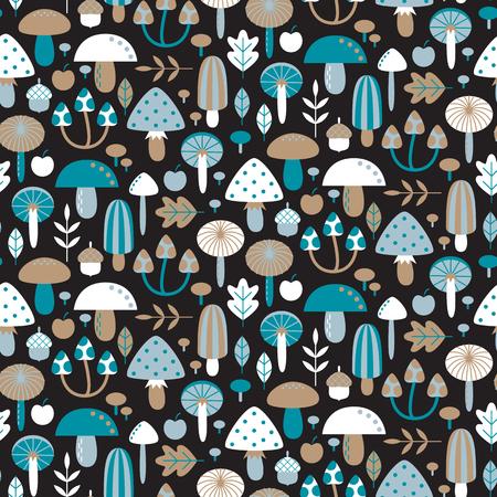 Seamless pattern with different mushrooms. Vector illustration Illustration