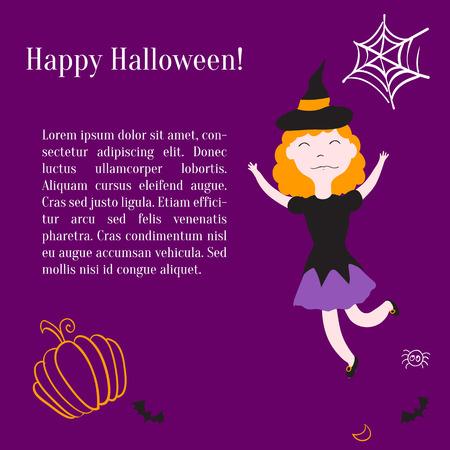 Kids in halloween costumes. Vector illustration