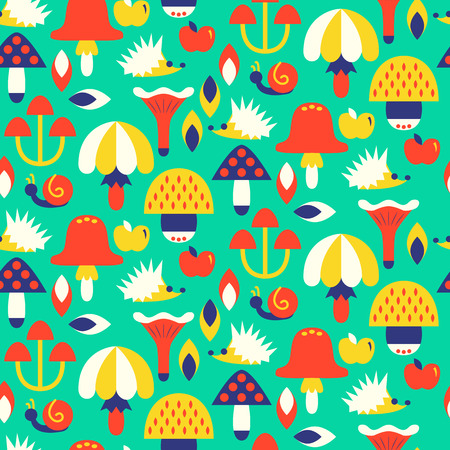 Seamless pattern with different mushrooms. Vector illustration Zdjęcie Seryjne - 73307998