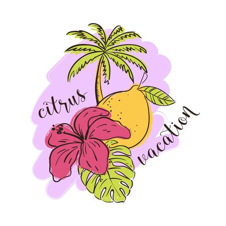 Tropical illustration with citrus fruit lemon, leafs and a flower. Vector illustration
