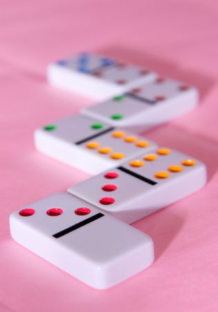 Rainbow Dominoes on Pink