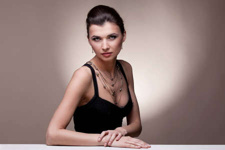 Portrait of luxury woman in exclusive jewelry on natural background Stock Photo - 14244013