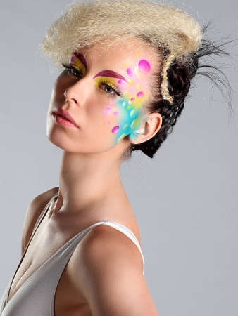 Fashion Art Woman Portrait With  Makeup And Hairstyle  Fashion Girl Portrait photo