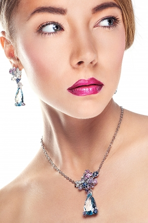 Woman posing in exclusive jewelry  Professional makeup Stock Photo - 17892270