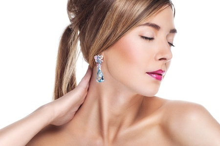 Woman posing in exclusive jewelry  Professional makeup Stock Photo - 17892256