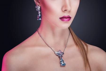 Glamour portrait of beautiful fashion model posing in exclusive jewelry  Professional makeup and hairstyle Stock Photo - 17892306