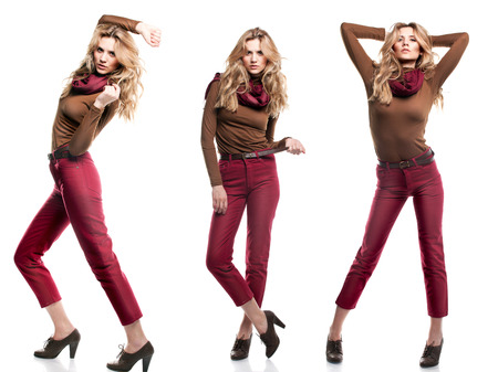 Studio shot of beautiful girl is in fashion style  Professional makeup and hairstyle